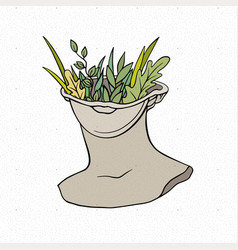 Head a greek statue with growing plants vector