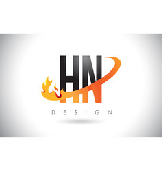 Hn h n letter logo with fire flames design and vector