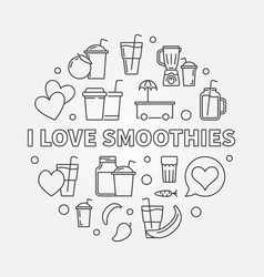 I love smoothies round in thin vector