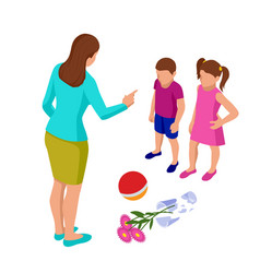 Isometric strict mother scolds her children vector