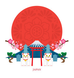 japan landmarks with decoration background vector image