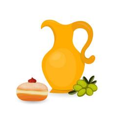 jewish holiday of hanukkah sufganiyah and jug vector image
