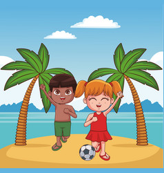 kids and beach cute cartoons vector image