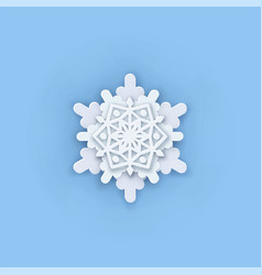 Layered paper cut art snowflake icon snow vector