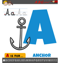 Letter a from alphabet with cartoon anchor object vector