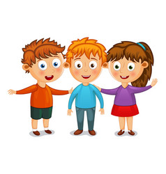 little kids best friends hug vector image