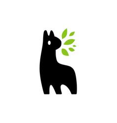 Llama alpaca leaf logo icon vector