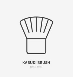 Makeup kabuki brush flat line icon beauty care vector