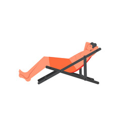 man sunbathing on chaise longue flat style vector image