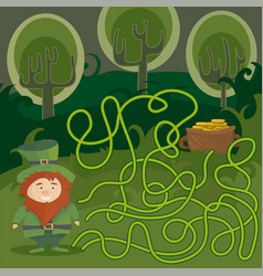 maze game for kids help red leprechaun to find vector image