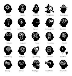 Mental health glyph vector