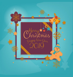 merry christmas greeting card banner winter vector image