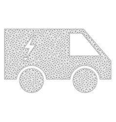 Mesh electric power car icon vector