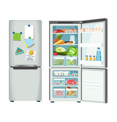 Modern fridge with different food set colorful vector