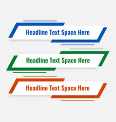 Modern lower third template in three colors vector
