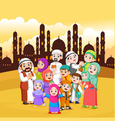 Muslim people are gathering in city vector