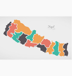 Nepal map with states and modern round shapes vector