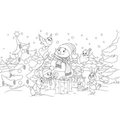 New year in forest snowman and little animals vector