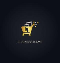 online shopping chart technology gold logo vector image