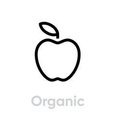 organic apple icon editable line vector image