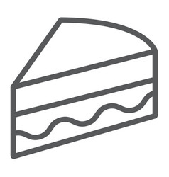 Piece of cake line icon sweet and food pie sign vector