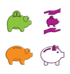 piggy bank icon set color outline style vector image
