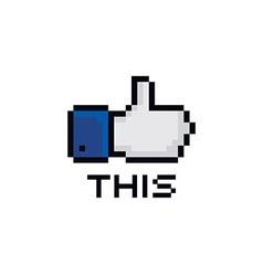pixel theme hand gesture sign vector image