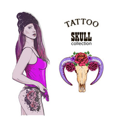 Rap swag girl tatto skull vector