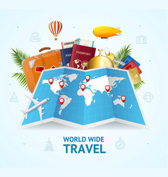 realistic 3d detailed world wide travel concept vector image