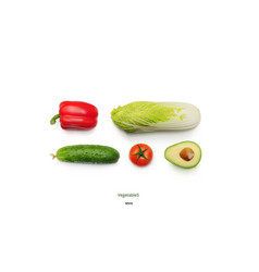 realistic vegetables set of avocado onion tomato vector image