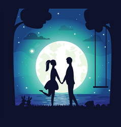 romantic atmosphere couple moon and lake at nigh vector image