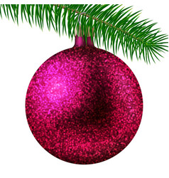 Rose christmas ball or bauble and fir branch vector