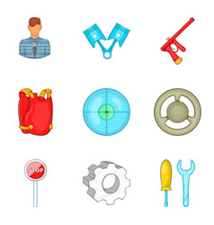Safeness icons set cartoon style vector