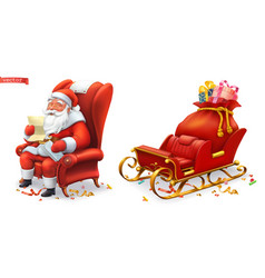Santa claus and sleigh with gifts 3d icons vector