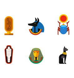 set flat design egypt travel icons vector image