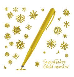 set golden hand drawn snowflakes vector image
