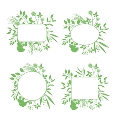 Set of green round and square frames vector
