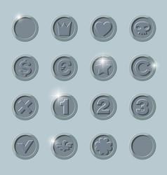 silver coins set vector image