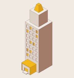 single high-rise building isometric drawn vector image