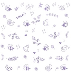 Sweet babies doodle bee and snail vector image
