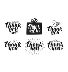 Thank you label set handwritten beautiful vector