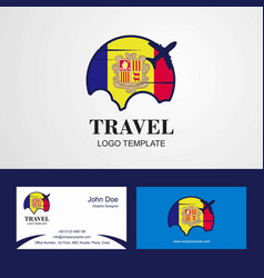 Travel andorra flag logo and visiting card design vector