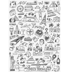Travel landmarks doodles vector
