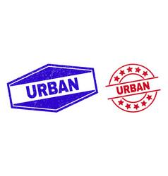Urban unclean watermarks in circle and hexagonal vector
