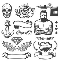 Vintage sketch tattoo studio elements set vector