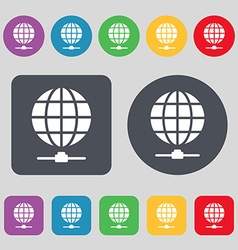 Website Icon sign A set of 12 colored buttons Flat vector
