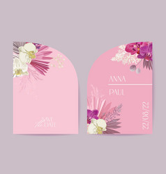 wedding tropical floral card dry tropic vector image