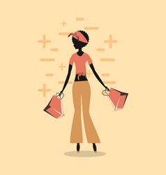 woman shopping retro vector image