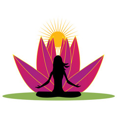 Yoga and pink lotus flower logo vector