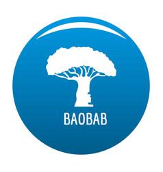 Baobab tree icon blue vector